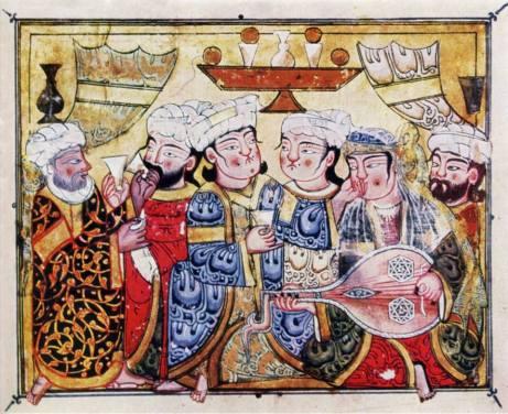 vino y musica miniatura de maqamat of al hariri cairo 1334