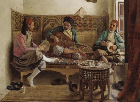 Músicos turcos. Obra del pintor francés George Paul Joseph Darasse. (1861-1904)