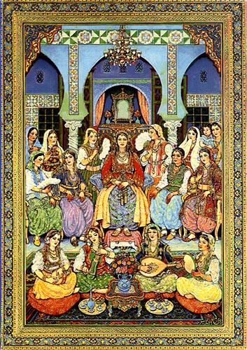 """""""Al día siguiente del matrimonio"""" Obra de Mohamed Racim, fundador de la escuela argelina de miniatura. (1896-1975)."""