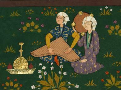 Kanun depiction from Walters Ms. W.607, Nizami's Khamsa Five poems Iran, ca. 1528 - 934-5 AH Folio 223 b, detail