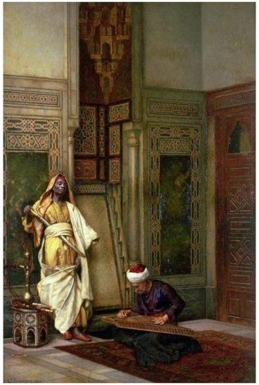 """Obra del pintor vienés Ludwig Deutsch (1855 - 1935). """"Guardia y qanuni en un interior""""."""