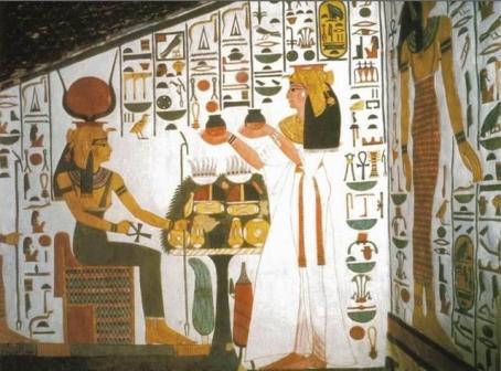 Diosa Nefertari haciendo una ofrenda a Isis. Pintura en la tumba de Nefertari, Valle de las Reinas. 1290-1224 a.C.